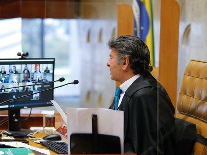 Ministro Luiz Fux, em sessão por videoconferência.