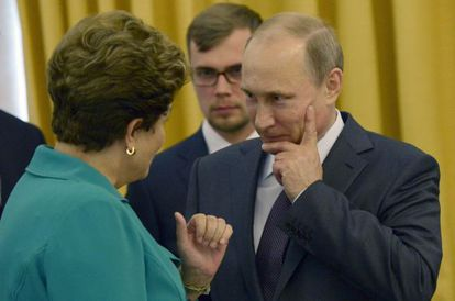 Dilma Rousseff e Putin, no Rio de Janeiro no domingo.