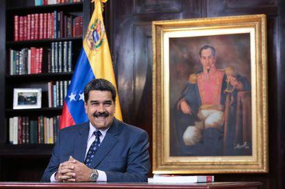 O presidente venezuelano, Nicolás Maduro, durante sua mensagem de ano novo.
