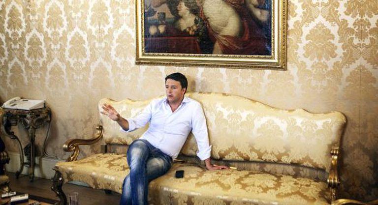 Matteo Renzi no Palazzo Chigi, em Roma.