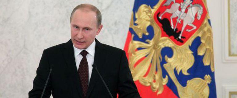 Putin durante seu discurso sobre o estado da nação.