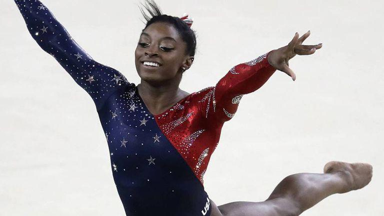 Simone Biles durante os Jogos Olímpicos do Rio 2016.