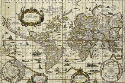 Um mapa-múndi do século XVII, quando não existia futebol.