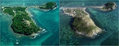 Aspecto da ilha antes e depois do furacão Maria.