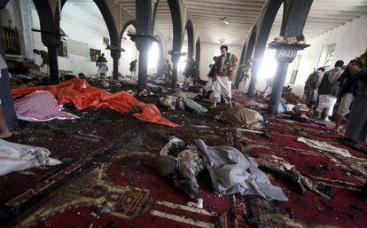 Corpos das vítimas dos atentados no Sanaa.
