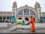 A worker sanitizes the square in front of the Hankou Railway Station, closed after the city of Wuhan was locked down following the outbreak of a new coronavirus, in Wuhan, Hubei province, China January 23, 2020. China Daily via REUTERS ATTENTION EDITORS - THIS IMAGE WAS PROVIDED BY A THIRD PARTY. CHINA OUT.
