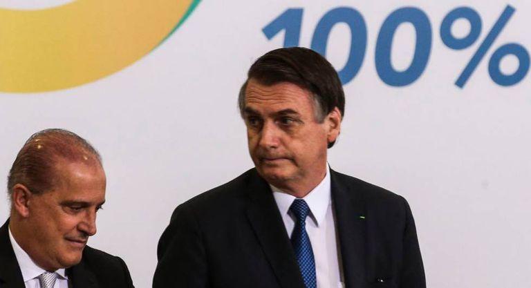Bolsonaro e o ministro Onyx.