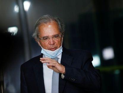 Paulo Guedes durante a entrevista coletiva desta terça-feira.