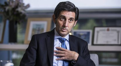 O presidente de Telefónica, José Maria Alvarez-Pallete, em seu escritório.