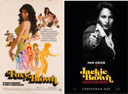 A estrela afro-americana Pam Grier num de seus papéis mais célebres da época, Foxy Brown. À direita, na versão Tarantino (Jackie Brown).