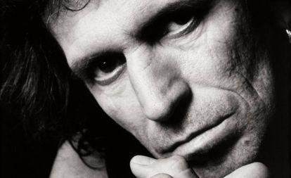 Keith Richards, retratado para seu disco 'Talk is Cheap'.