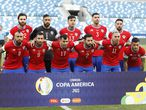 Chile's starting players pose for a photo prior a Copa America soccer match against Bolivia at Arena Pantanal stadium in Cuiaba, Brazil, Friday, June 18, 2021. (AP Photo/Andre Penner)
