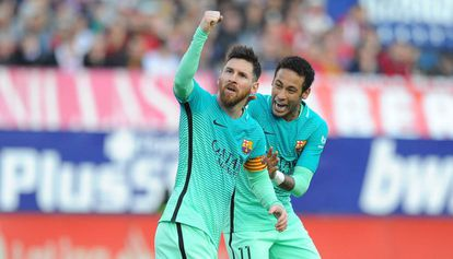 Messi comemora seu gol no Vicente Calderón.