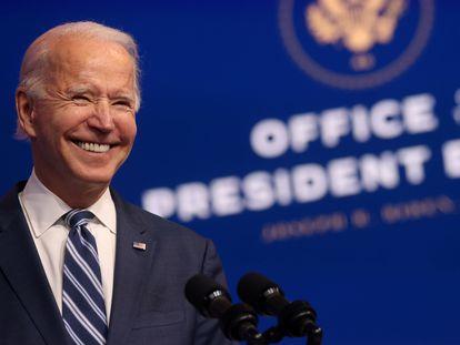 Joe Biden, presidente eleito dos EUA, em um evento em Wilmington.