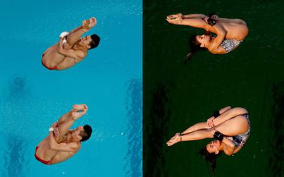 A mesma piscina, com um dia de diferença.