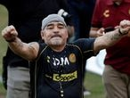 FILE PHOTO: Argentinian soccer legend Diego Armando Maradona reacts to fans during his first training session as coach of Dorados at the Banorte stadium in Culiacan, in the Mexican state of Sinaloa, Mexico September 10, 2018. REUTERS/Henry Romero/File Photo/File Photo/File Photo