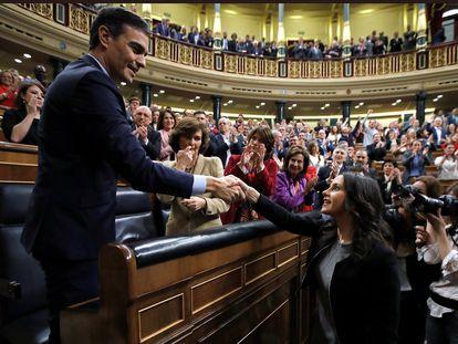 Pedro Sánchez, nesta terça-feira, no Congresso espanhol.