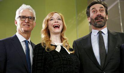 John Slattery, Christina Hendricks e Jon Hamm, protagonistas de 'Mad Men'.