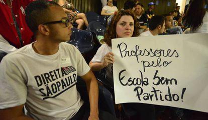 Manifestantes na Câmara Municipal de São Paulo, em votação do projeto Escola sem partido no último dia 07.