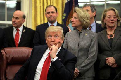 Donald Trump em uma cerimônia na Casa Branca.