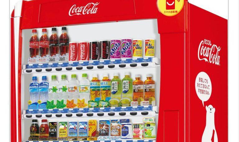 Gama de produtos comercializados pela Coca-Cola no Japão, numa imagem corporativa.