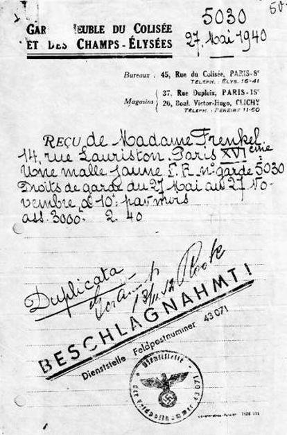 Documento de François Frenkel, autora do livro 'Uma livraria em Berlim', de um guardamuebles de Paris de 1940.