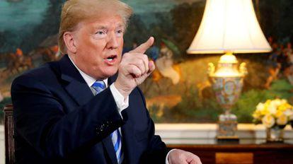 Trump em 8 de maio, quando assinou a retirada dos EUA do acordo nuclear.