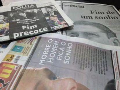 Jornais locais relatam a morte de Campos.