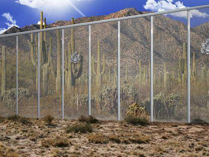 Simulação de uma das propostas de muro entre EUA e México apresentadas pela construtora Fort Worth.