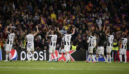 Jogadores da Juventus comemoram a passagem para as semifinais.