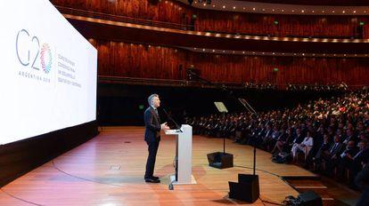 Macri fala durante posse da presidência temporária da Argentina no G-20
