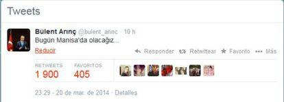 Tuit do vice primeiro-ministro de Turquía no que anuncia sua agenda.