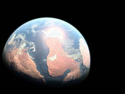 Reconstrução do planeta possivelmente habitável em órbita da estrela GJ 357, a 31 anos-luz.