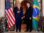 FILE PHOTO: U.S. President Donald Trump hosts a photo-op with Brazilian President Jair Bolsonaro before attending a working dinner at the Mar-a-Lago resort in Palm Beach, Florida, U.S., March 7, 2020. REUTERS/Tom Brenner/File Photo
