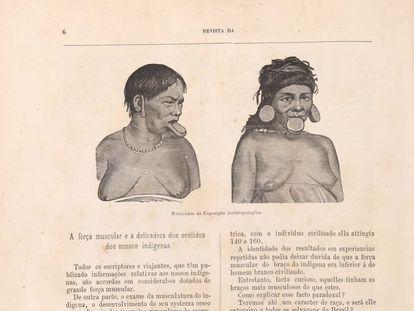 Uma ilustração retrata dois indígenas expostos no Rio de Janeiro, em 1882, no catálogo da exposição do Museu Nacional.