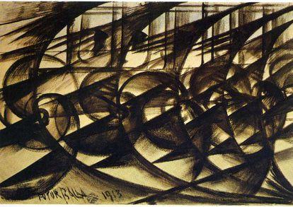 'Velocidade de automóvel' (1913), de Giacomo Balla.
