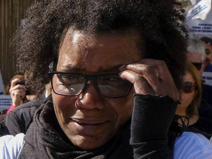 A suspeita, Ana Julia Quezada, num ato em 9 de março para apoiar a família do menino.