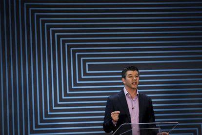 Travis Kalanick durante seu discurso na sede do Uber.