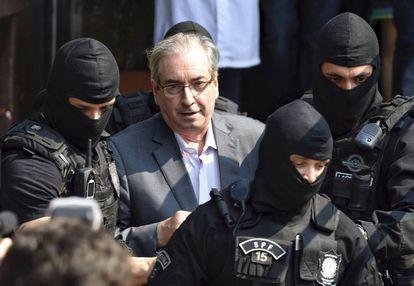 Eduardo Cunha, preso pela Polícia Federal por envolvimento no esquema de corrupção revelado pela Lava Jato.