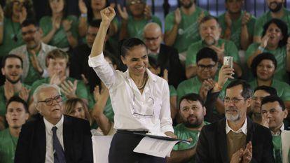 Marina Silva durante convenção que confirmou seu nome como candidata à presidência, em agosto de 2018