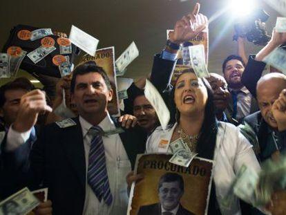 Protesto contra o ajuste fiscal na Câmara.