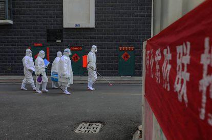 Técnicos de laboratório em Linyi, na província de Shandong, em 10 de fevereiro.