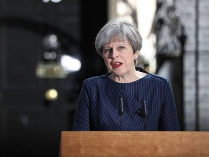 Theresa May, durante pronunciamento, nesta terça-feira.