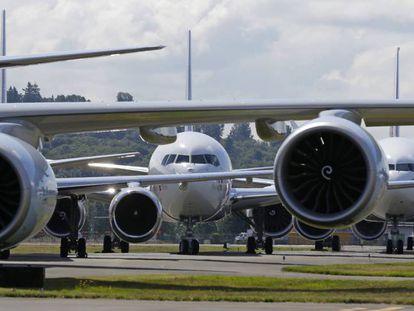 Aviões da série 7 da Boeing em Seattle.