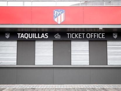 Bilheterias fechadas no estádio do Atlético de Madri.