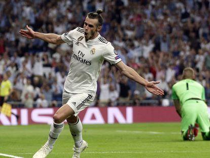 Bale comemora seu gol na vitória contra a Roma.