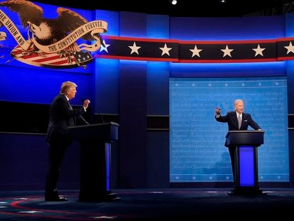 Donald Trump e Joe Biden no primeiro debate.