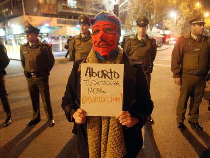 Manifestação a favor do aborto em Santiago, Chile.