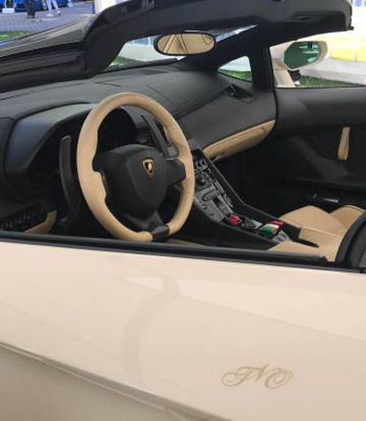 Lamborghini com iniciais de Teodor Obiang gravadas na porta.