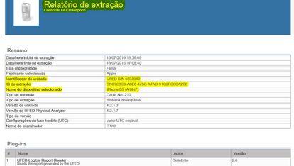 Exemplo de relatório produzido pelo UFED da Cellebrite e usado em investigação da Lava Jato.